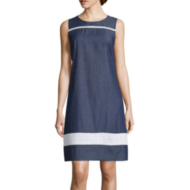 jcpenney.com | Liz Claiborne® Sleeveless Chambray And Lace Shift Dress