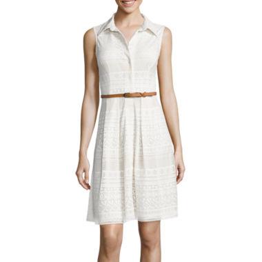 jcpenney.com | Liz Claiborne® Sleeveless Belted Lace Shirtdress