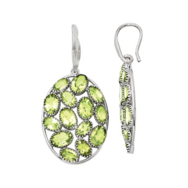 jcpenney.com | Genuine Green Peridot Sterling Silver Oval Drop Earrings