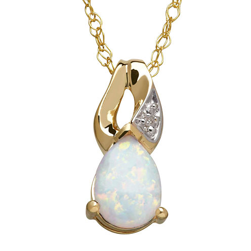 White Topaz & Diamond Accent 10K Yellow Gold Pendant Necklace