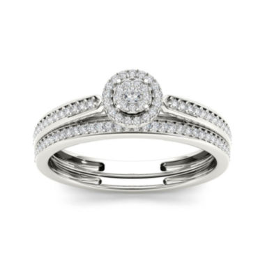 jcpenney.com | 1/4 CT. T.W. Diamond 10K White Gold Bridal Ring Set