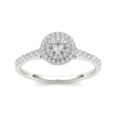 jcpenney.com | 1/2 CT. T.W. Diamond Halo 10K White Gold Engagement Ring