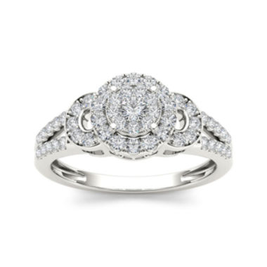 jcpenney.com | 1/2 CT. T.W. Diamond Cluster 10K White Gold Engagement Ring