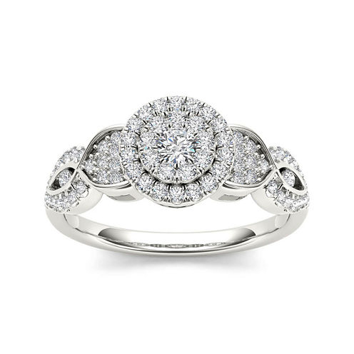 1/2 CT. T.W. Diamond Cluster 10K White Gold Engagement Ring