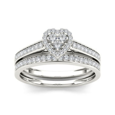 jcpenney.com | 1/2 CT. T.W. Diamond 10K White Gold Heart-Shaped Bridal Set