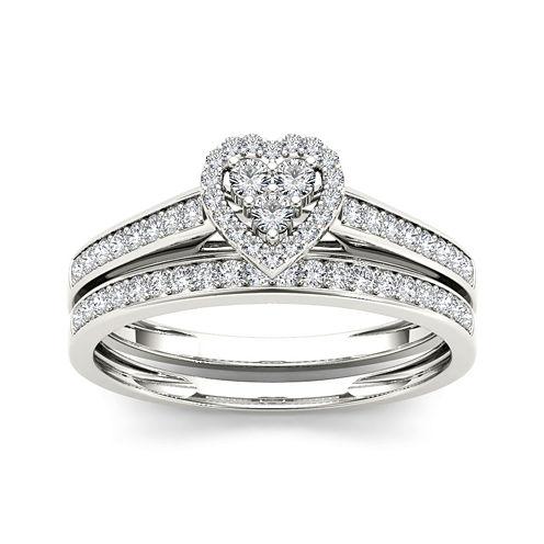 1/2 CT. T.W. Diamond 10K White Gold Heart-Shaped Bridal Set