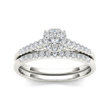 jcpenney.com | 1/2 CT. T.W. Diamond 10K White Gold Bridal Ring Set