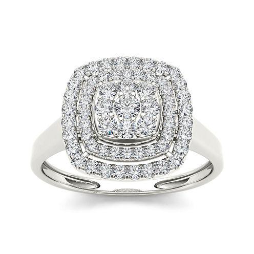 1/2 CT. T.W. Diamond Halo 10K White Gold Engagement Ring