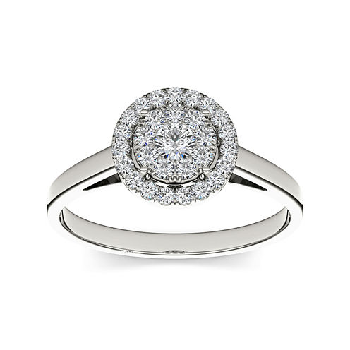 1/3 CT. T.W. Diamond 10K White Gold Round Cluster Engagement Ring