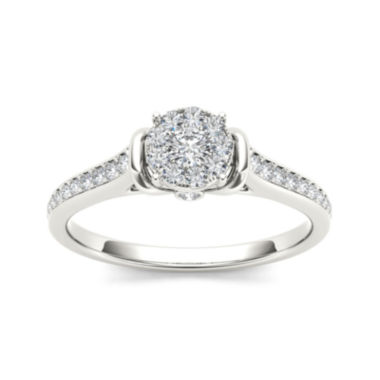 jcpenney.com | 1/3 CT. T.W. Diamond 10K White Gold Round Cluster Engagement Ring