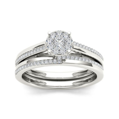 jcpenney.com | 1/3 CT. T.W. Diamond 10K White Gold Round Cluster Bridal Set