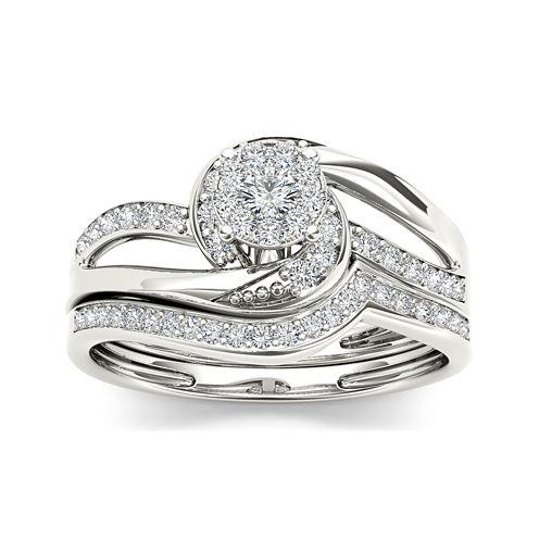 1/3 CT. T.W. Diamond 10K White Gold Bridal Set