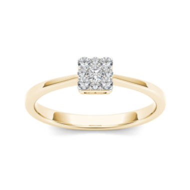 jcpenney.com | 1/6 CT. T.W. Diamond Square Cluster 10K Yellow Gold Engagement Ring