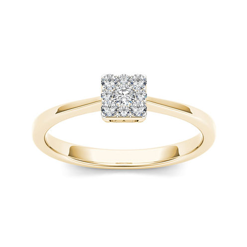 1/6 CT. T.W. Diamond Square Cluster 10K Yellow Gold Engagement Ring