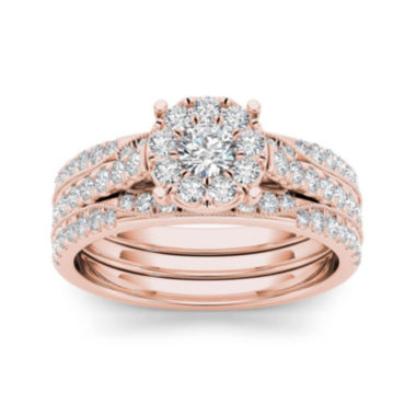 jcpenney.com | 1 CT. T.W. Diamond 14K Rose Gold Bridal Set