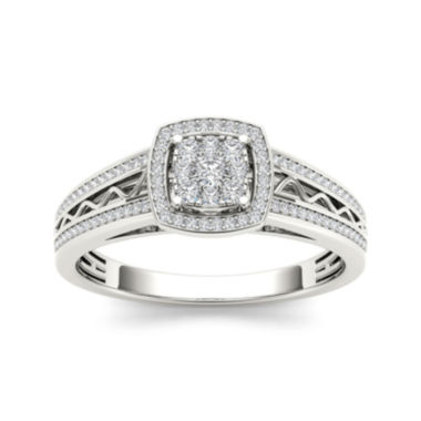 jcpenney.com | 3/8 CT. T.W. Diamond Cluster 10K White Gold Engagement Ring