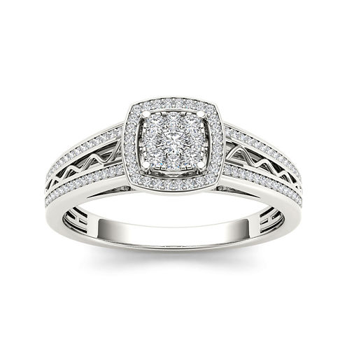 3/8 CT. T.W. Diamond Cluster 10K White Gold Engagement Ring