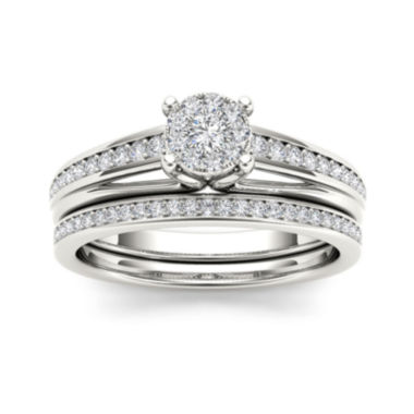 jcpenney.com | 3/8 CT. T.W. Diamond 10K White Gold Bridal Ring Set