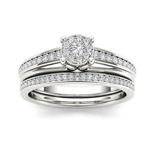 3/8 CT. T.W. Diamond 10K White Gold Bridal Ring Set