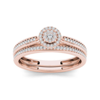 jcpenney.com | 1/4 CT. T.W. Diamond 10K Rose Gold Bridal Ring Set