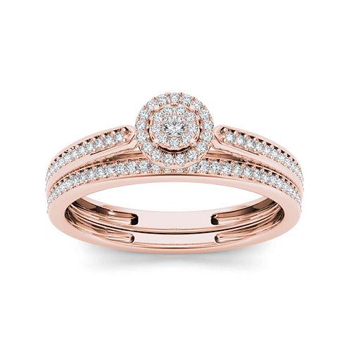 1/4 CT. T.W. Diamond 10K Rose Gold Bridal Ring Set