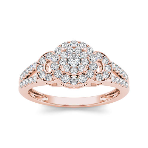 1/2 CT. T.W. Diamond Cluster 10K Rose Gold Engagement Ring