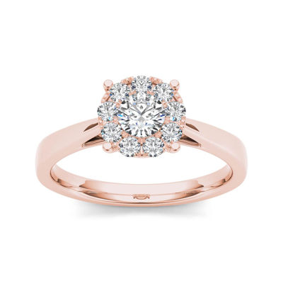 1 2 Ct T W Diamond 10k Rose Gold Engagement Ring Color Rose Gold Jcpenney