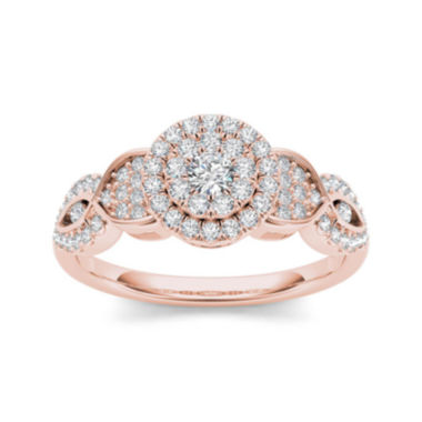 jcpenney.com | 1/2 CT. T.W. Diamond Cluster 10K Rose Gold Engagement Ring