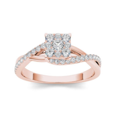 jcpenney.com | 1/2 CT. T.W. Diamond 10K Rose Gold Engagement Ring