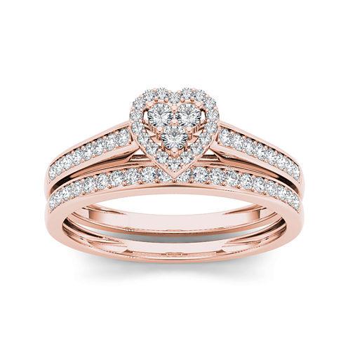 1/2 CT. T.W. Diamond 10K Rose Gold Heart-Shaped Bridal Set