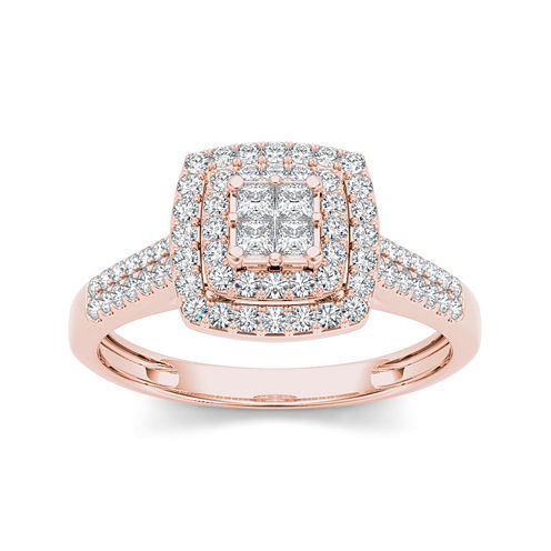 1/2 CT. T.W. Diamond 10K Rose Gold Engagement Ring