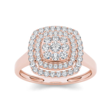 jcpenney.com | 1/2 CT. T.W. Diamond Halo 10K Rose Gold Engagement Ring