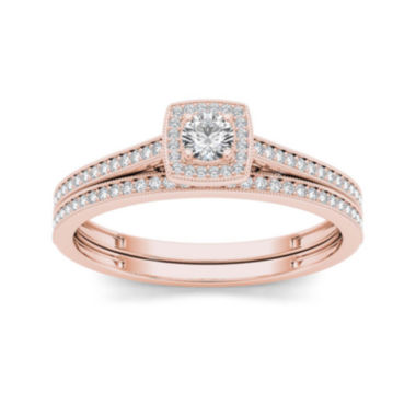 jcpenney.com | 1/3 CT. T.W. Diamond 10K Rose Gold Bridal Set