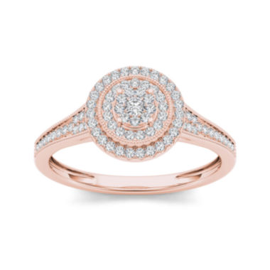 jcpenney.com | 1/3 CT. T.W. Diamond 10K Rose Gold Engagement Ring
