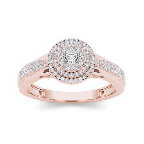1/3 CT. T.W. Diamond 10K Rose Gold Engagement Ring