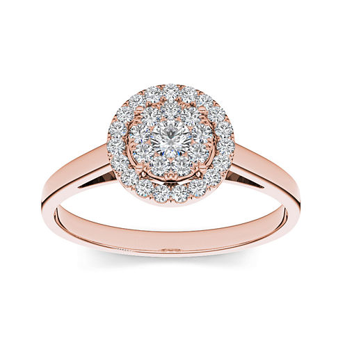 1/3 CT. T.W. Diamond 10K Rose Gold Round Cluster Engagement Ring