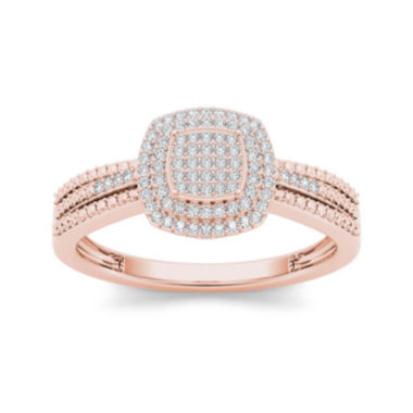 jcpenney.com | 1/5 CT. T.W. Diamond 10K Rose Gold Engagement Ring