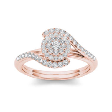 jcpenney.com | 3/8 CT. T.W. Diamond 10K Rose Gold Engagement Ring