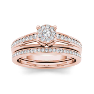 jcpenney.com | 3/8 CT. T.W. Diamond 10K Rose Gold Bridal Ring Set