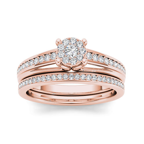3/8 CT. T.W. Diamond 10K Rose Gold Bridal Ring Set