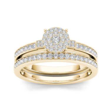 jcpenney.com | 1/2 CT. T.W. Diamond Cluster 10K Yellow Gold Bridal Ring Set