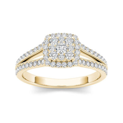 1 2 ct t w 10k yellow gold engagement ring