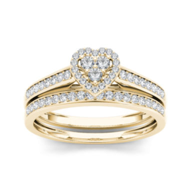 jcpenney.com | 1/2 CT. T.W. Diamond 10K Yellow Gold Heart-Shaped Bridal Set
