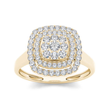 jcpenney.com | 1/2 CT. T.W. Diamond Halo 10K Yellow Gold Engagement Ring