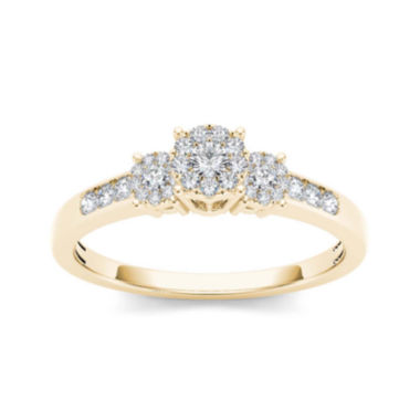 jcpenney.com | 1/3 CT. T.W. Diamond 10K Yellow Gold Engagement Ring