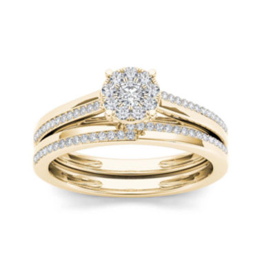 jcpenney.com | 1/3 CT. T.W. Diamond 10K Yellow Gold Round Cluster Engagement Ring