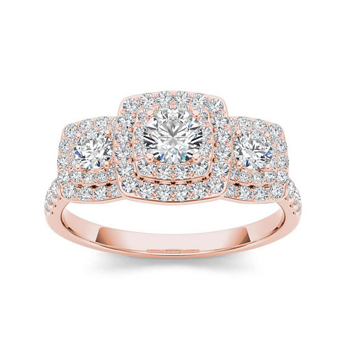 1 CT. T.W. Diamond 10K Rose Gold 3-Stone Engagement Ring