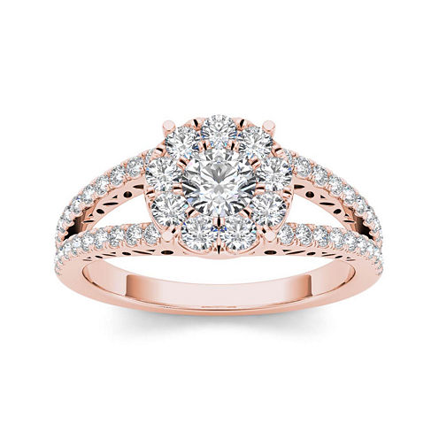 1 CT. T.W. Diamond 10K Rose Gold Engagement Ring
