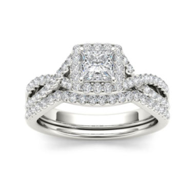 jcpenney.com | 1 CT. T.W. Diamond 14K White Gold Bridal Ring Set