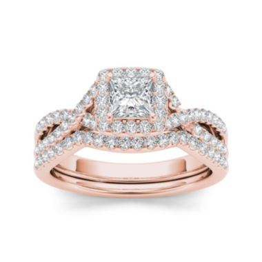 jcpenney.com | 1 CT. T.W. Diamond 14K Rose Gold Bridal Ring Set